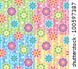 colorful seamless patterns with flowers and hearts - stock vector