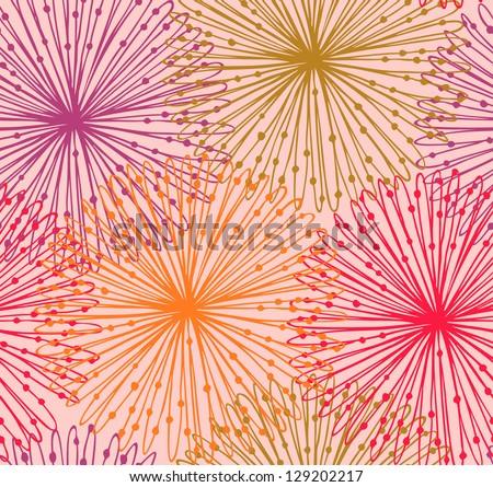 Colorful seamless radial pattern. Cute netting abstract background. Sunny graphic backdrop with decorative circles - stock vector