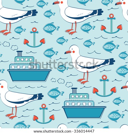 Colorful seamless sea pattern with seagulls anchors fishes and boats. Vector illustration - stock vector