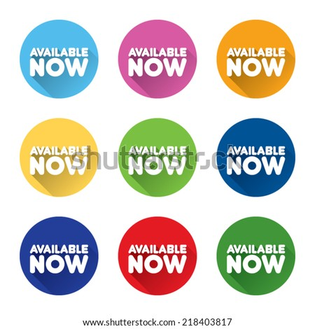 Colorful Set of Available Now Labels - stock vector