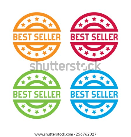 Colorful Set of Best Seller Labels - stock vector