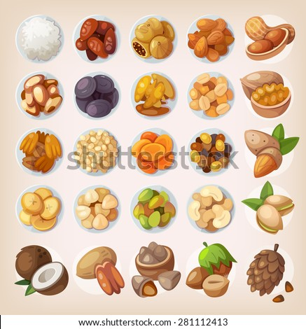 Colorful set of dried fruit and nuts. Top view - stock vector