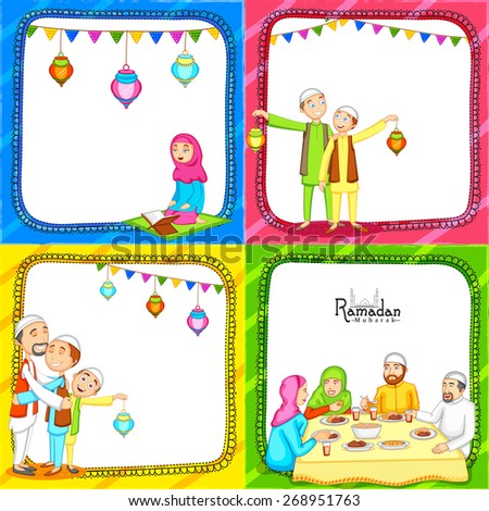 Colorful set of greeting card decorated with Islamic people enjoying and celebrating on occasion of holy month Ramadan Kareem.  - stock vector