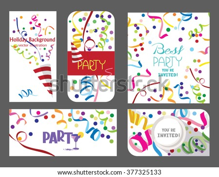 Colorful set of holiday cards with confetti and ticker tapes - stock vector
