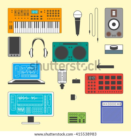 Colorful Set of Musician digital equipment. Vector Musician workspace elements in thin line style. Computer, headphones, sequencer, loudspeakers, microphone and combo isolated on white background. - stock vector