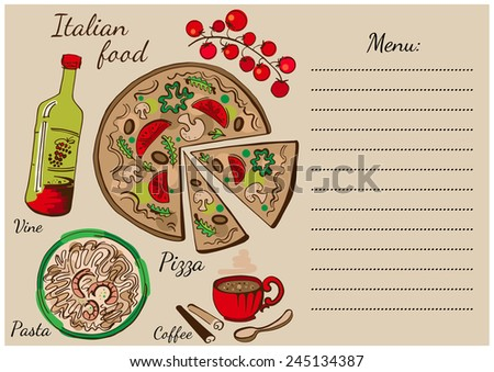 Colorful set of national italian dishes. Pizza, pasta, wine and coffee. - stock vector