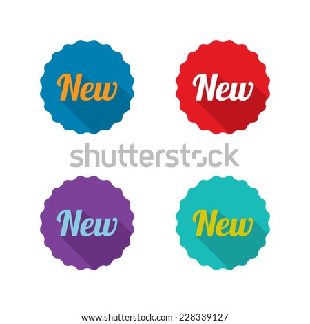 Colorful Set of New Labels With Long Shadow - stock vector