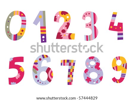 Colorful set of numbers. Assorted alphabet available in my portfolio. - stock vector