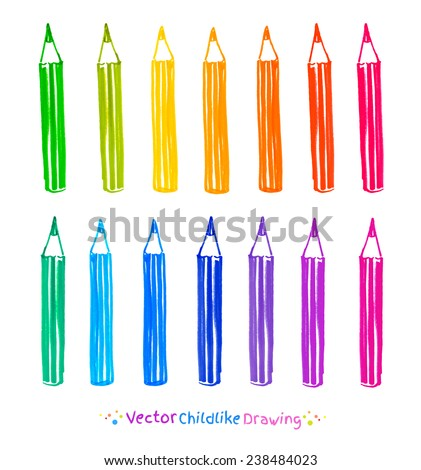 Colorful set of pencils. Childlike felt pen drawing. Vector illustration, isolated. - stock vector