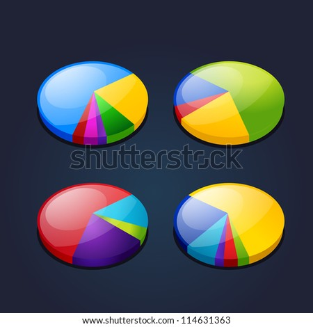 colorful set of pie graphic chart - stock vector