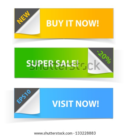 Colorful set of promotional sale banners - stock vector