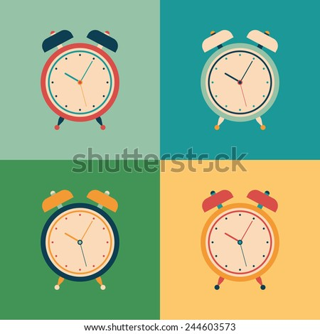 Colorful set of retro alarm clocks. - stock vector