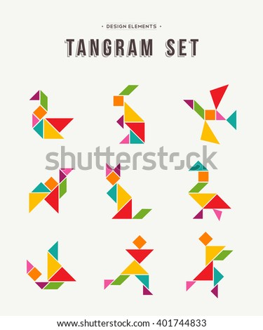 Colorful set of tangram game icons made with geometry shapes in abstract style, includes animals and people. EPS10 vector. - stock vector