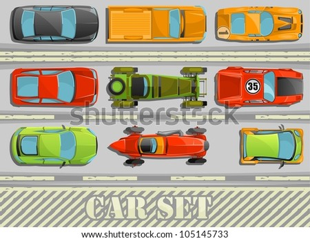 colorful set of top view cars on a high way - stock vector
