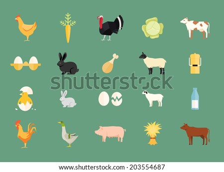 Colorful set of vector farm animals and produce with hen and egg  carrot  turkey  cabbage  dairy and beef cows  rabbit  sheep  milk can  duck  pig  hay chicken  rooster and goat - stock vector