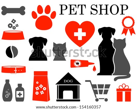 colorful set of veterinary pet icons - stock vector