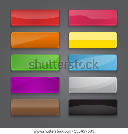 Colorful set of web rectangle horizontal banner buttons with different gloss reflections. Vector illustration - stock vector
