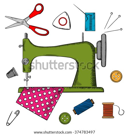 Colorful sewing icons surrounding a sewing machine with pin, thread, yarn, thimble, button and cloth. Vector illustration - stock vector