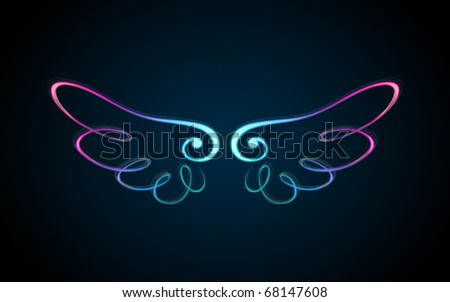 colorful shining wings ornament - stock vector