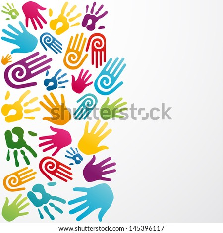 Colorful silhouette hand group background. Vector illustration layered for easy manipulation and custom coloring. - stock vector