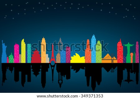 Colorful silhouette of cityscape at night with stars. - stock vector