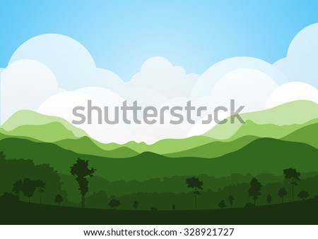 colorful silhouette summer landscape background for graphic design and website - stock vector