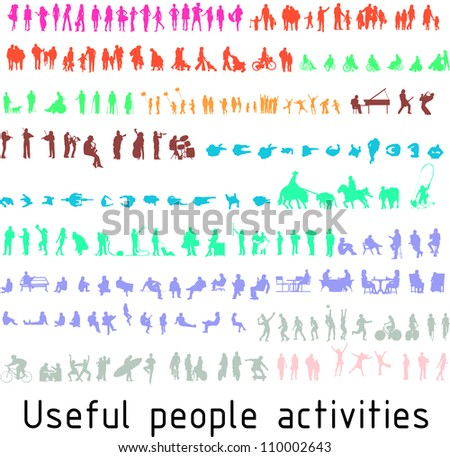 Colorful silhouettes for useful people activities - stock vector