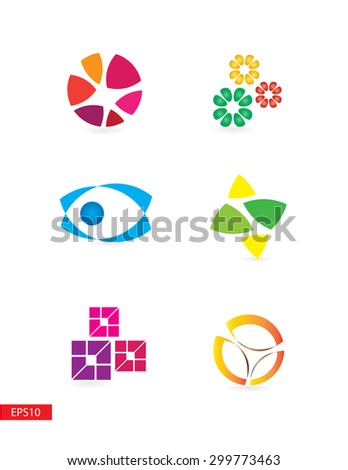 Colorful simple but elegant modern logo elements set for various use  - stock vector