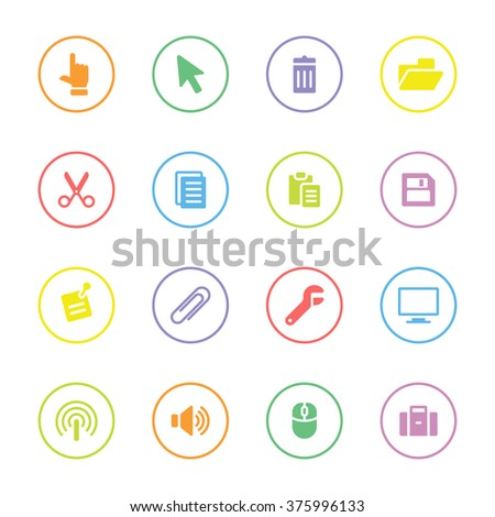 colorful simple flat computer and technology icon set 3 with circle frame for web design, user interface (UI), infographic and mobile application (apps) - stock vector