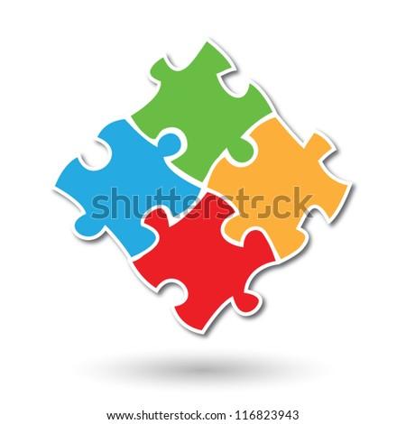 Colorful simplistic kids puzzle pieces vector eps10 - stock vector