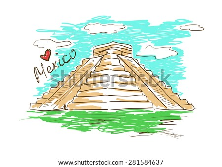 Colorful sketch illustration of Chichen Itza Mayan Pyramid in Mexico on a white background. - stock vector