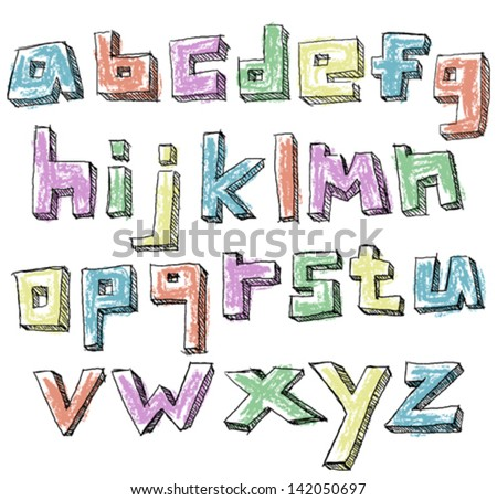 Colorful sketchy hand drawn lower case alphabet - stock vector
