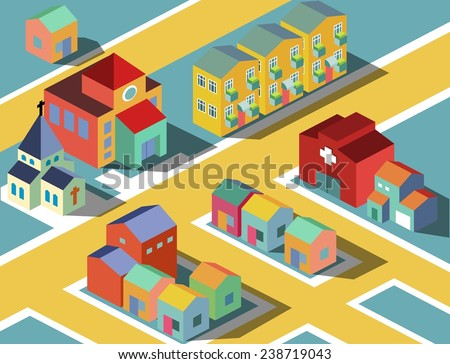 colorful Small neighborhood. vector illustration - stock vector