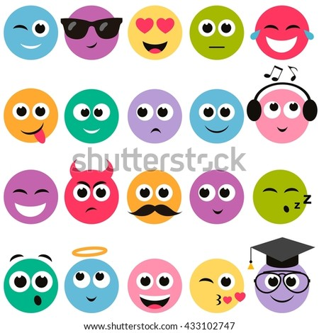 colorful smiley faces set - stock vector
