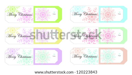 Colorful snowflake Christmas gift tags - stock vector