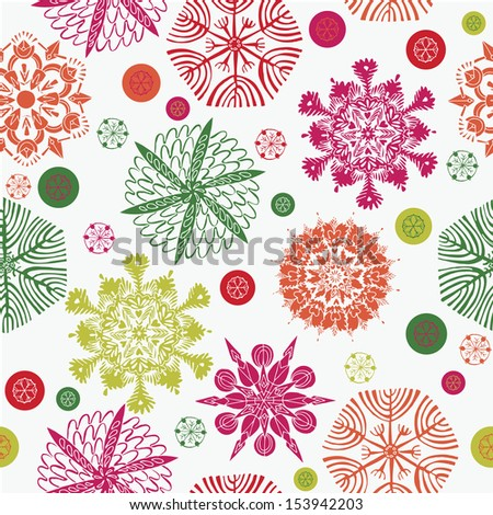 Colorful Snowflakes Seamless Pattern - stock vector