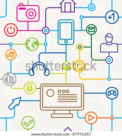 colorful social media and internet seamless pattern - vector illustration - stock vector