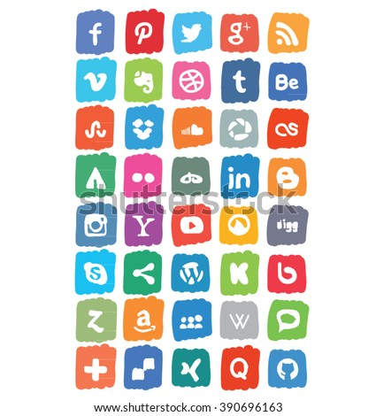 Colorful Social Media Icon Set Vector - stock vector