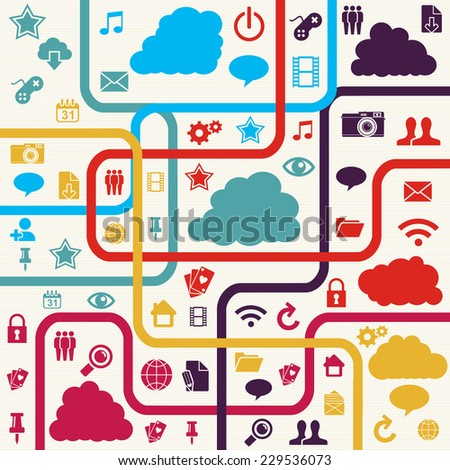 Colorful Social media network concept with app icons illustration. EPS10 vector file organized in layers for easy editing. - stock vector