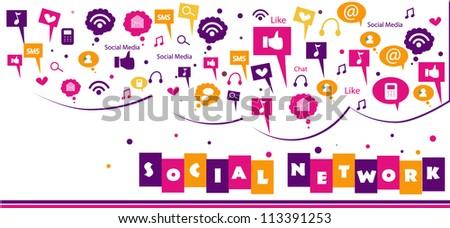 colorful social network concept - stock vector