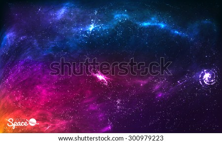 Colorful Space Galaxy Background with Shining Stars, Stardust and Nebula. Vector Illustration for artwork, party flyers, posters, brochures - stock vector