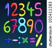 Colorful spaghetti numbers - stock vector