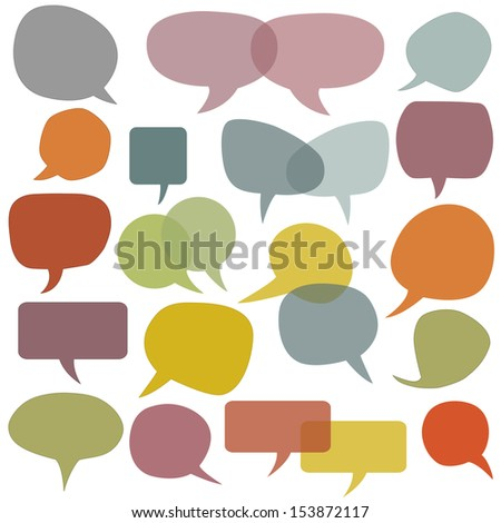 Colorful speech balloons and bubbles set in vector - stock vector