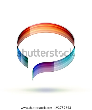Colorful speech bubble formed by a ribbon isolated on white. EPS10 vector image. - stock vector