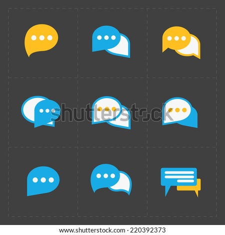Colorful Speech bubble icons on black background. Vector illustr - stock vector
