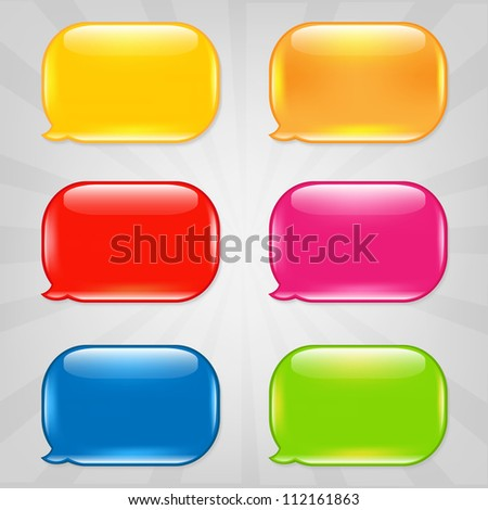 Colorful Speech Bubble, Isolated On Grey Background, Vector Illustration - stock vector