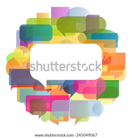 Colorful speech bubbles and balloons cloud illustration background vector concept - stock vector