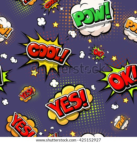 Colorful speech bubbles and explosions in pop art style. design comic. Ok, cool, yes, pow, oops, comic fonts. - stock vector