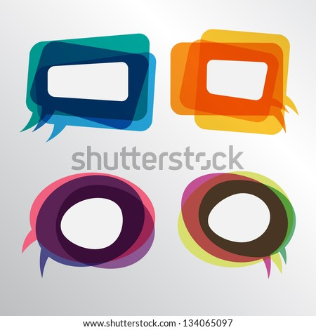 Colorful speech bubbles round and square layers - stock vector