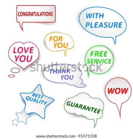 Colorful  speech bubbles set with different inscription - stock vector